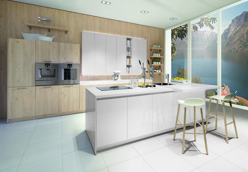 Gloss Matt Wood Kitchen Finishes: Pronorm's Y-Line Handleless Kitchen In Nordic Wood Natural